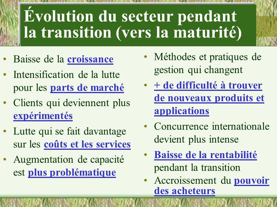 Évolution du secteur pendant la transition (vers la maturité)