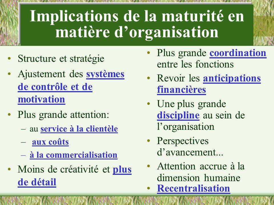 Implications de la maturité en matière d'organisation
