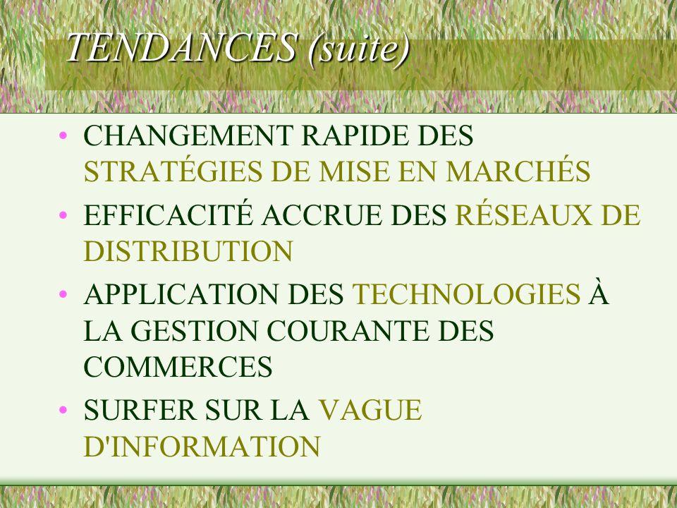 TENDANCES (suite) CHANGEMENT RAPIDE DES STRATÉGIES DE MISE EN MARCHÉS