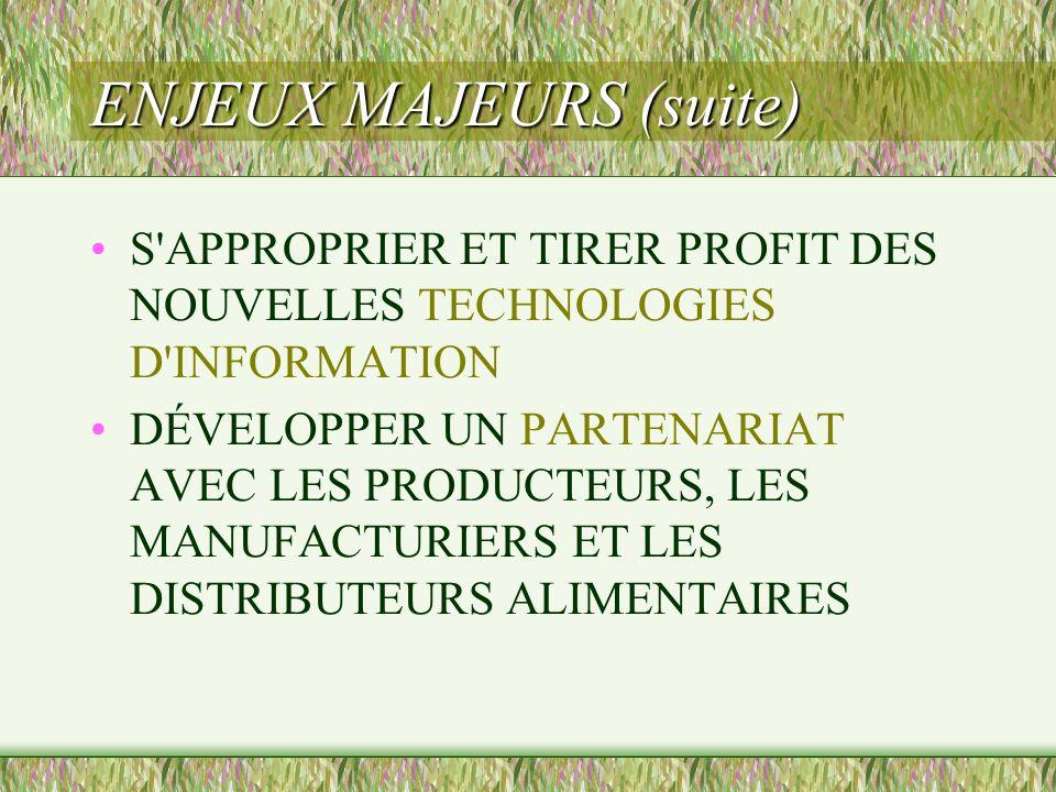 ENJEUX MAJEURS (suite)