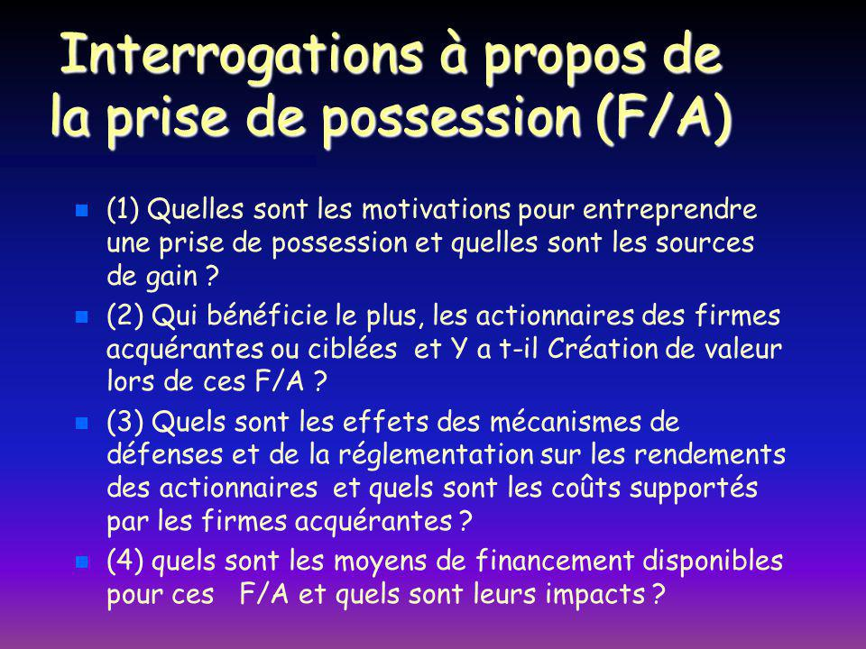 Interrogations à propos de la prise de possession (F/A)