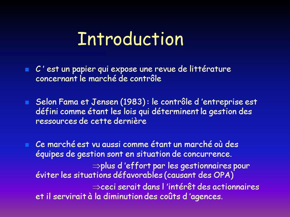 Introduction C ' est un papier qui expose une revue de littérature concernant le marché de contrôle.