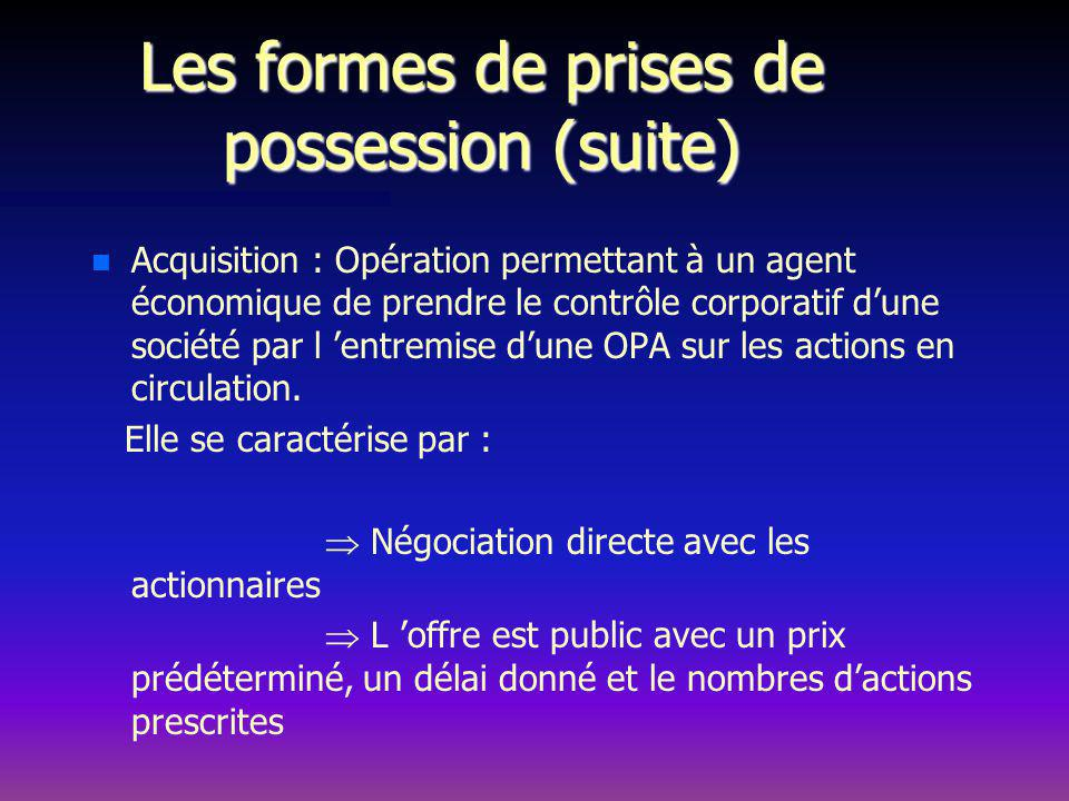 Les formes de prises de possession (suite)