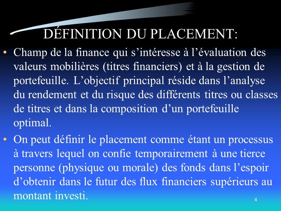 DÉFINITION DU PLACEMENT:
