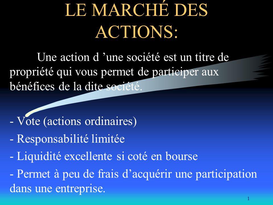 LE MARCHÉ DES ACTIONS: Une action d 'une société est un titre de propriété qui vous permet de participer aux bénéfices de la dite société.