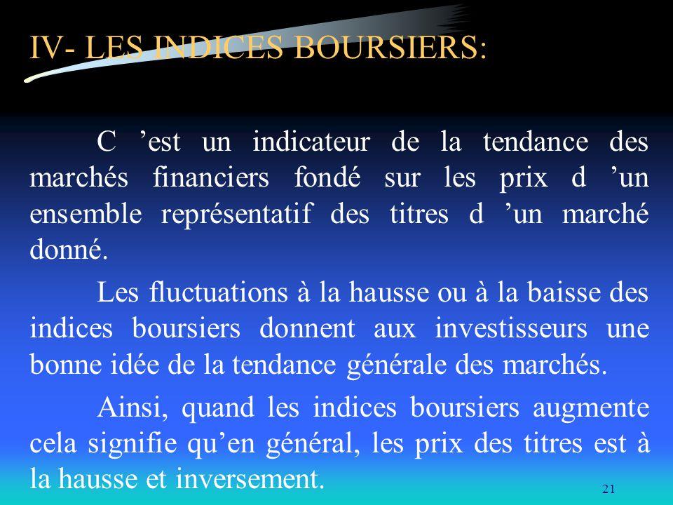 IV- LES INDICES BOURSIERS: