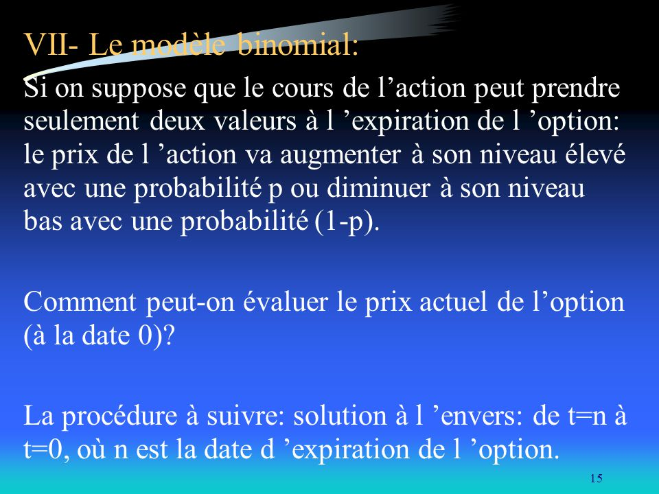 VII- Le modèle binomial: