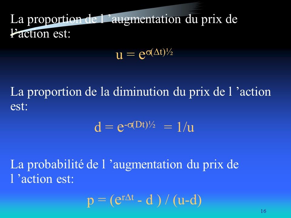 u = es(Dt)½ d = e-s(Dt)½ = 1/u p = (erDt - d ) / (u-d)