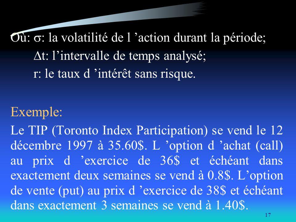 Exemple: Où: s: la volatilité de l 'action durant la période;
