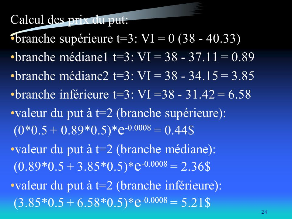Calcul des prix du put: branche supérieure t=3: VI = 0 (38 - 40.33) branche médiane1 t=3: VI = 38 - 37.11 = 0.89.