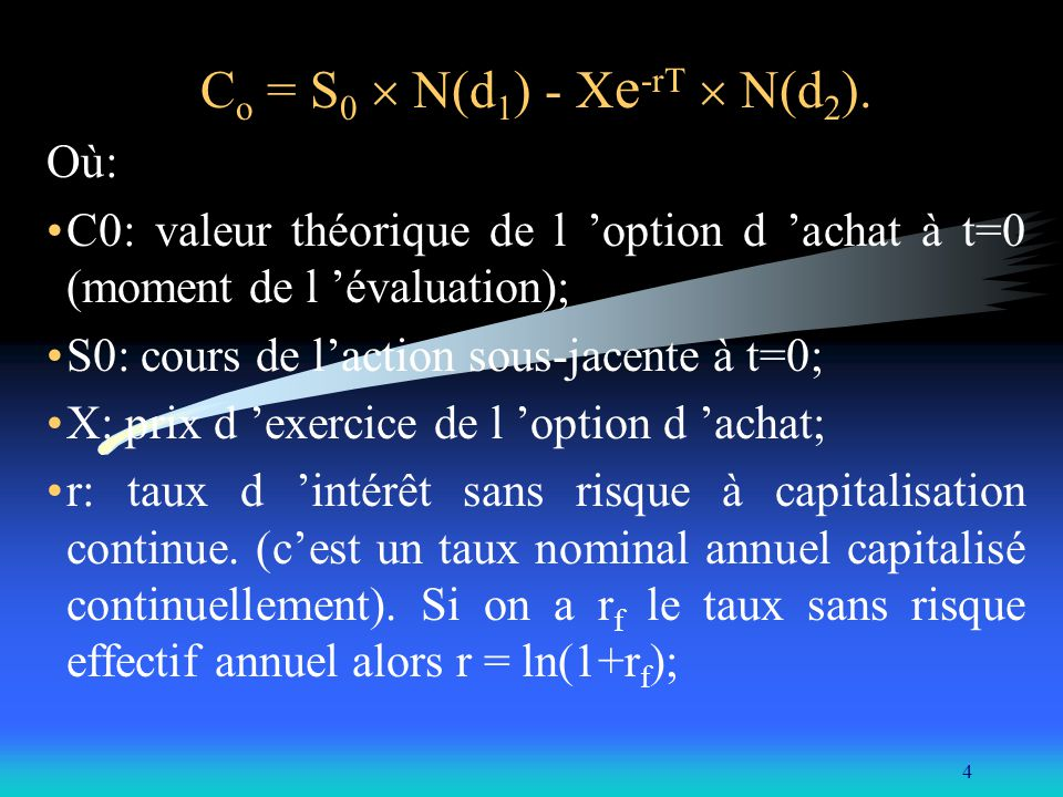 Co = S0  N(d1) - Xe-rT  N(d2).