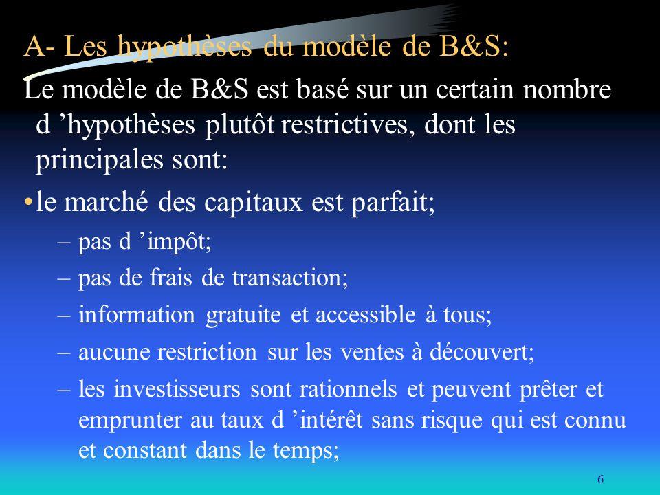 A- Les hypothèses du modèle de B&S: