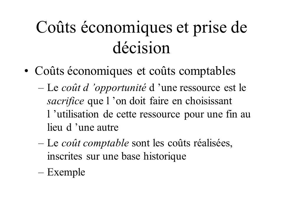 Coûts économiques et prise de décision