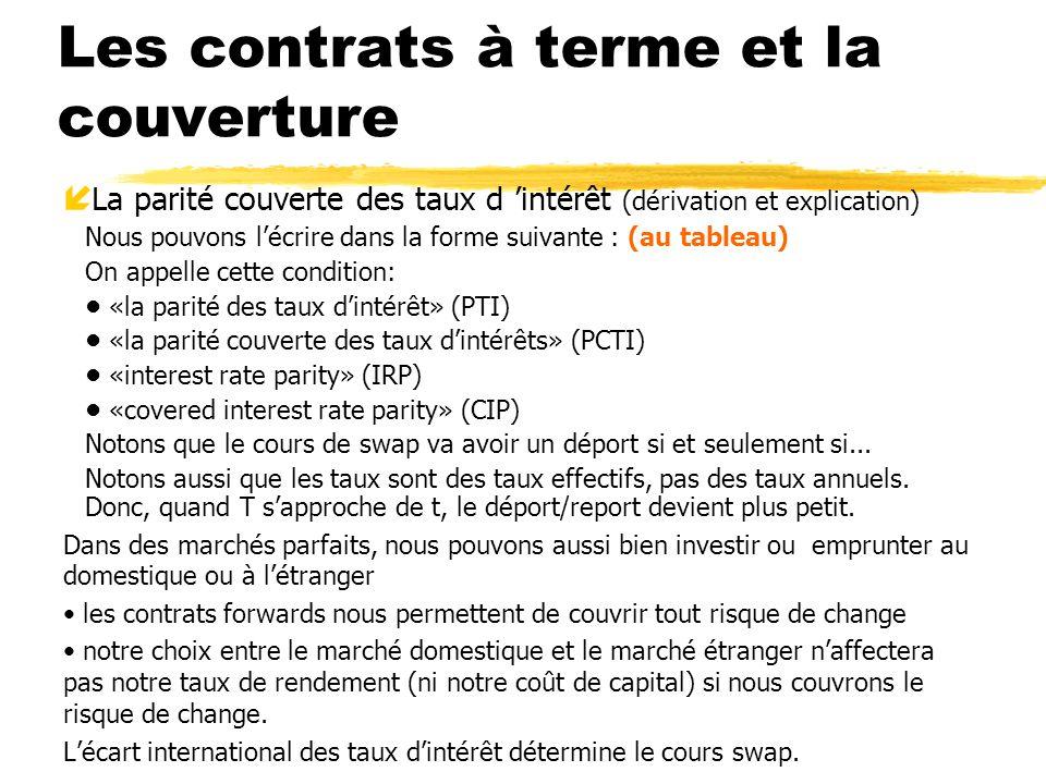 Les contrats à terme et la couverture