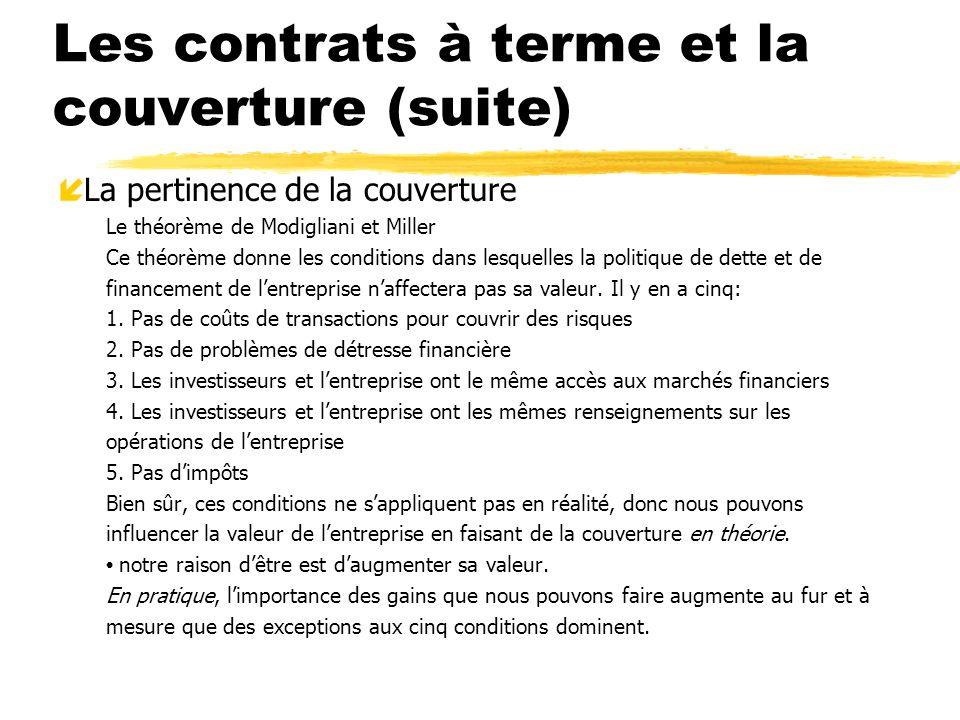 Les contrats à terme et la couverture (suite)