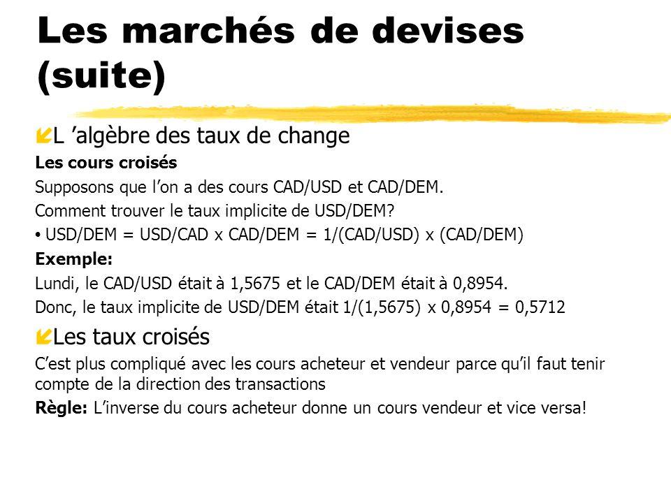 Les marchés de devises (suite)