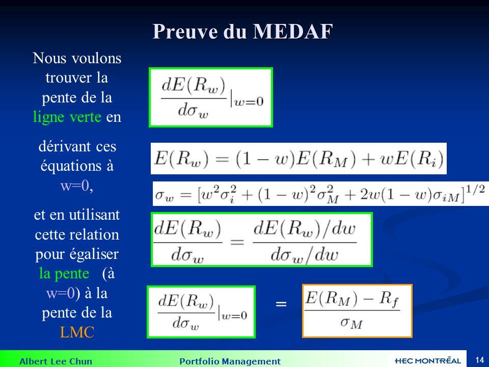 Preuve du MEDAF = w = 0 M Actif i La ligne verte DOIT être égale à la pente de la LMC