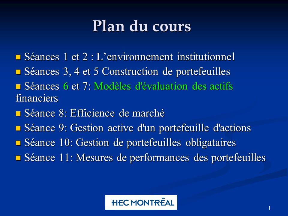 Plan du Cours Une preuve intéressante du MEDAF
