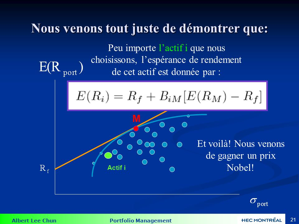 Modèle d'évaluation des actifs avec zéro-béta ( Pas dans le plan de cours: Mais, bien comprendre ce concept pourrait vous être utile pour différents problèmes à l'examen )