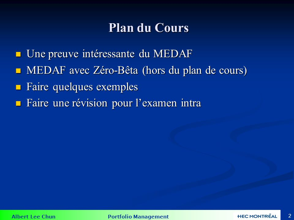 Une preuve intéressante du MEDAF