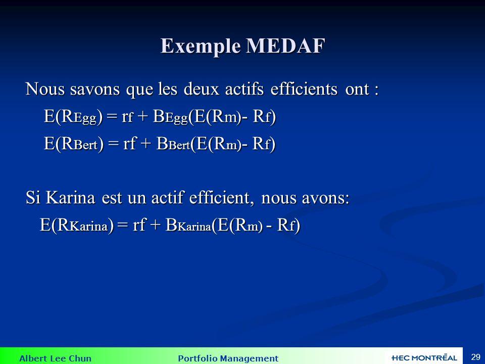 Exemple MEDAF Premièrement, trouvez les espérance de rendement du marché et de l'actif sans risque en résolvant deux équations a.