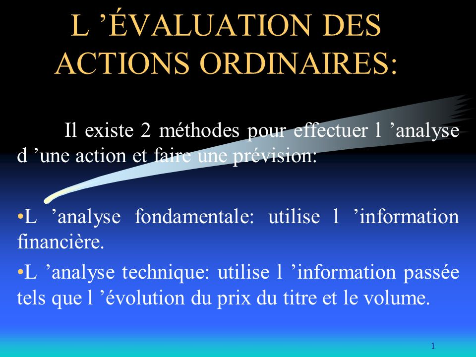 L 'ÉVALUATION DES ACTIONS ORDINAIRES: