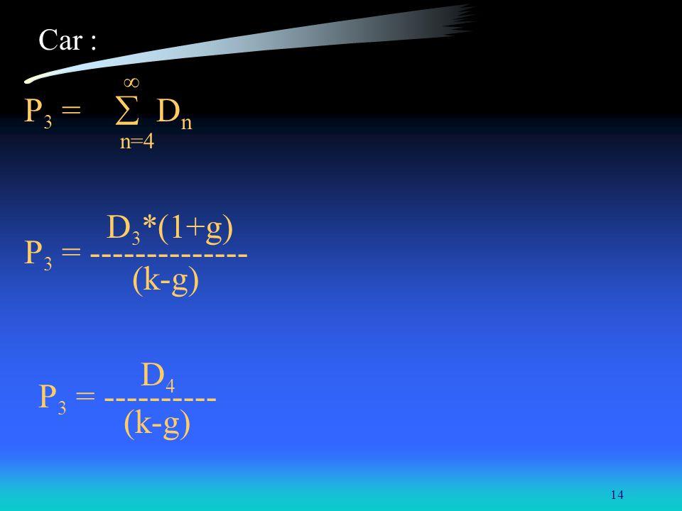 P3 =  Dn P3 = -------------- (k-g) D4 P3 = ---------- Car : n=4
