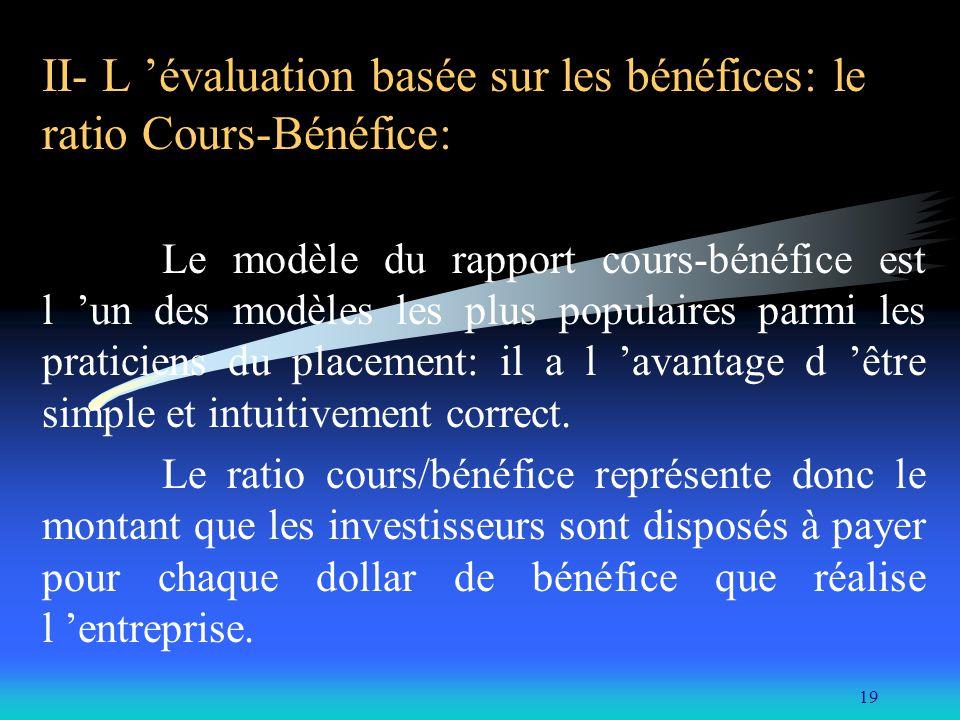 II- L 'évaluation basée sur les bénéfices: le ratio Cours-Bénéfice: