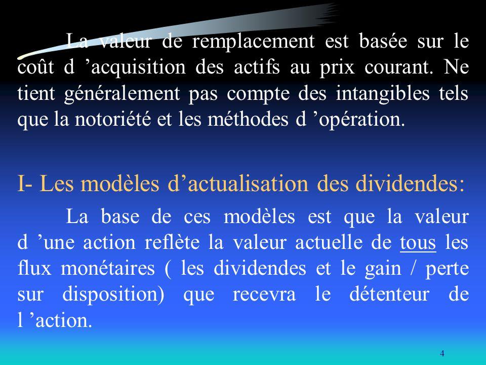 I- Les modèles d'actualisation des dividendes: