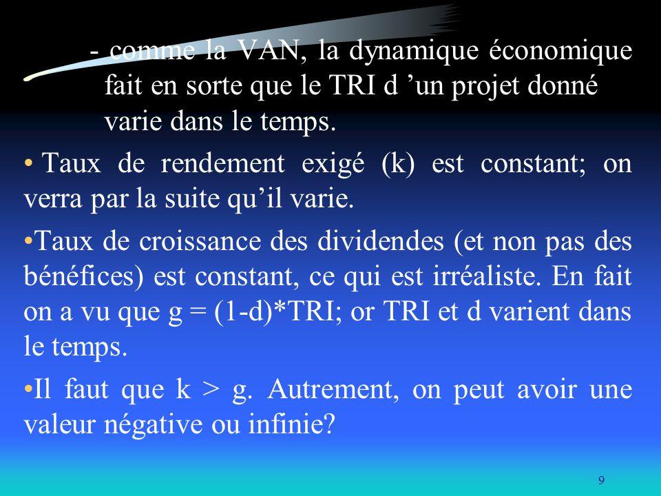 - comme la VAN, la dynamique économique