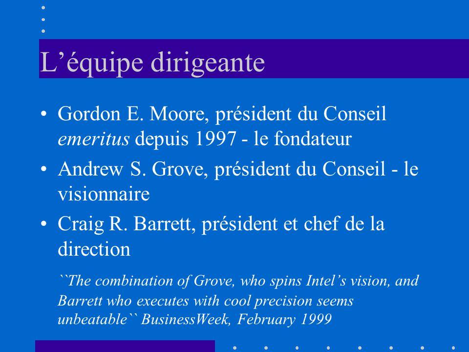 L'équipe dirigeante Gordon E. Moore, président du Conseil emeritus depuis 1997 - le fondateur.