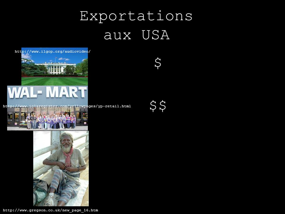 Exportations aux USA $ $$ http://www.ilgop.org/audiovideo/