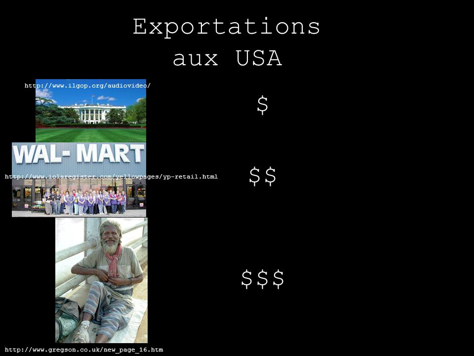 Exportations aux USA $ $$ $$$ http://www.ilgop.org/audiovideo/