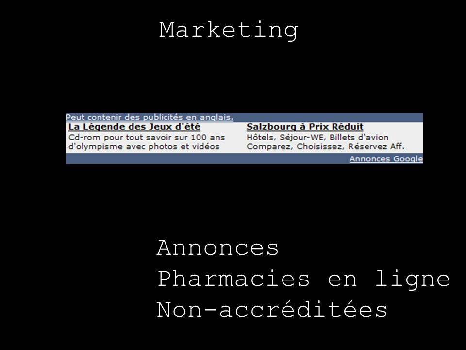 Marketing Annonces Pharmacies en ligne Non-accréditées
