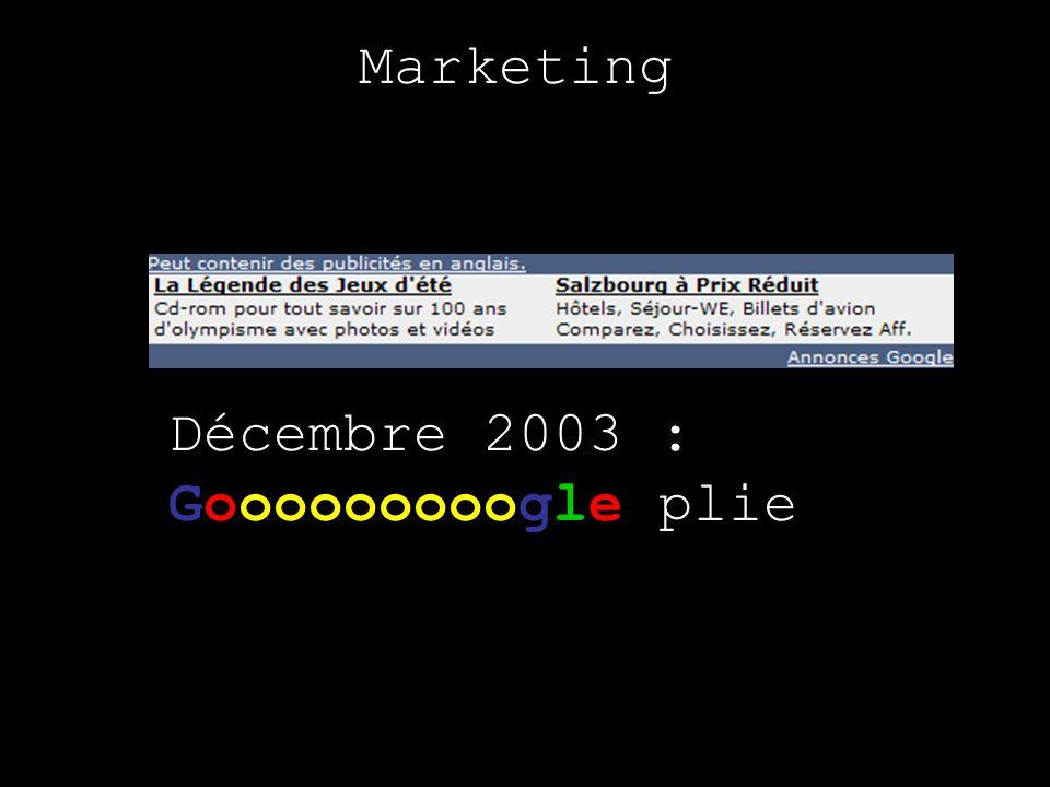 Marketing Décembre 2003 : plie Gooooooooogle