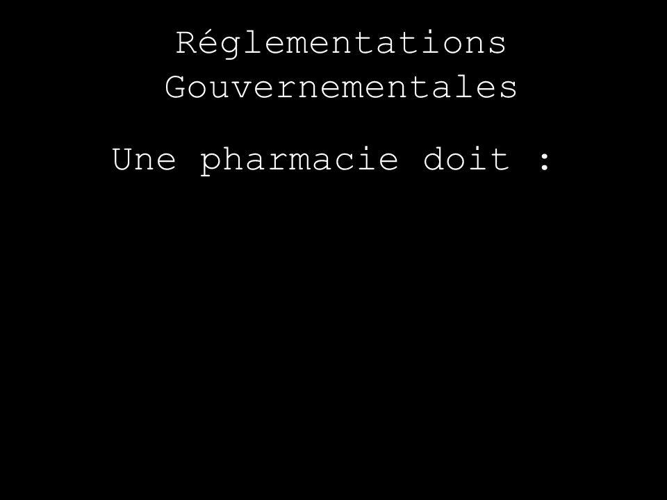 Réglementations Gouvernementales Une pharmacie doit :