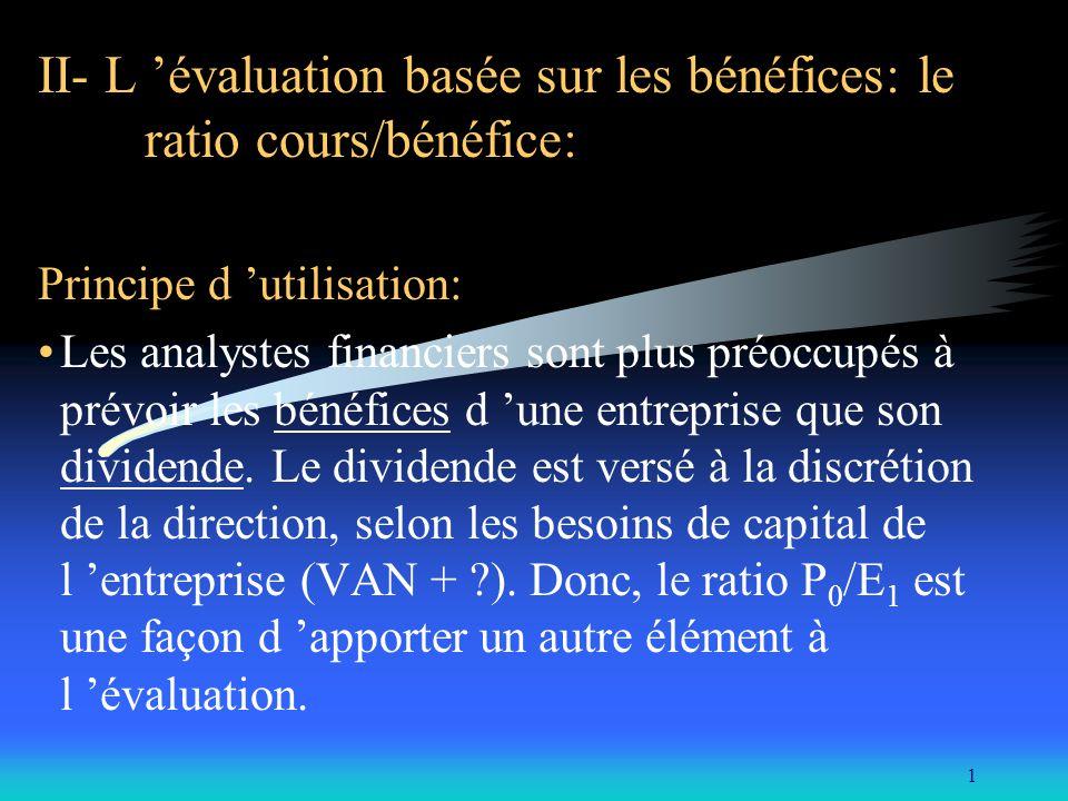 II- L 'évaluation basée sur les bénéfices: le ratio cours/bénéfice: