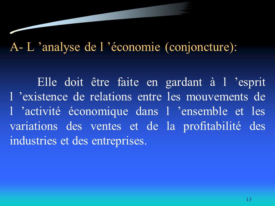 A- L 'analyse de l 'économie (conjoncture):