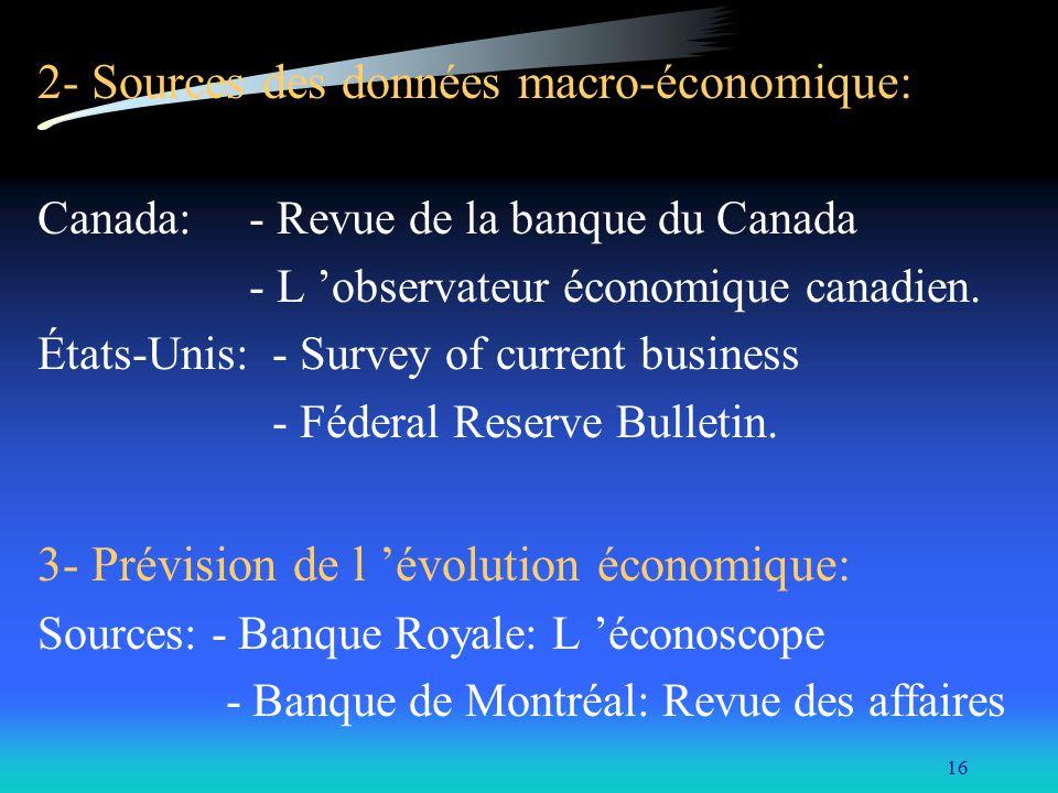 2- Sources des données macro-économique: