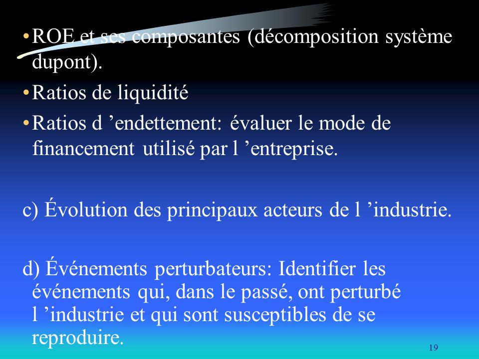 ROE et ses composantes (décomposition système dupont).
