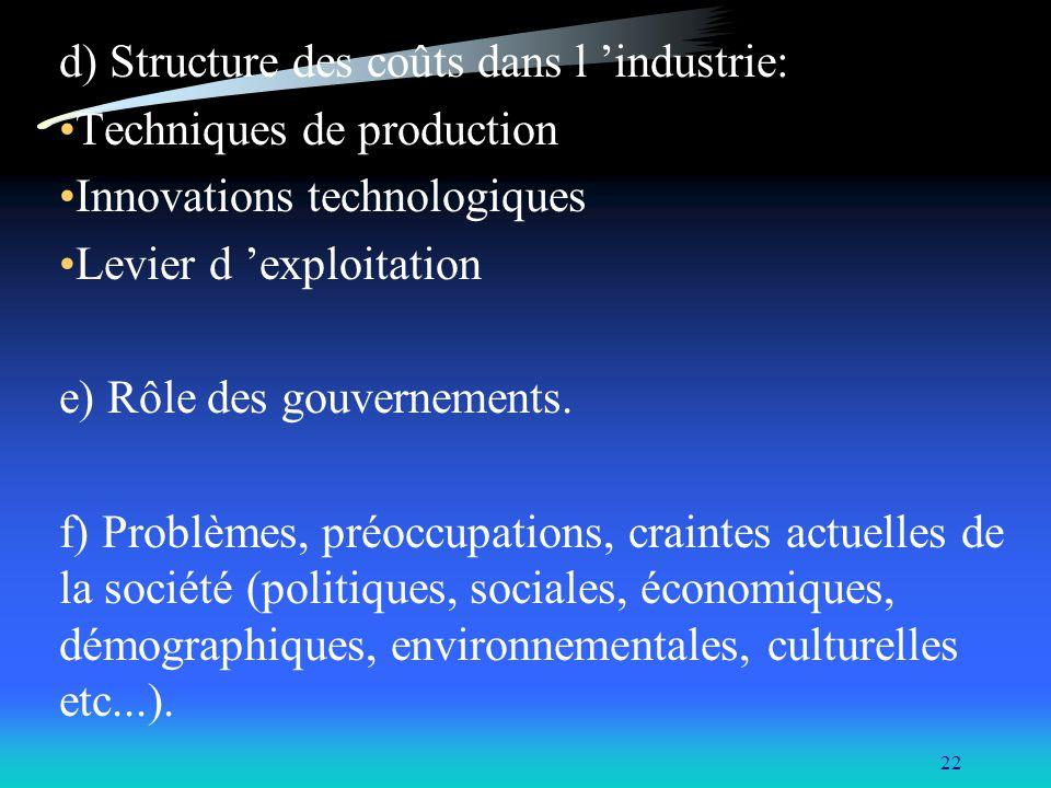 d) Structure des coûts dans l 'industrie: Techniques de production