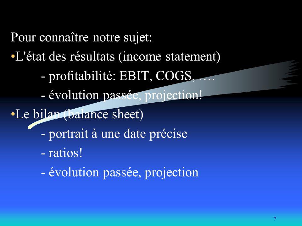 Pour connaître notre sujet: L état des résultats (income statement)