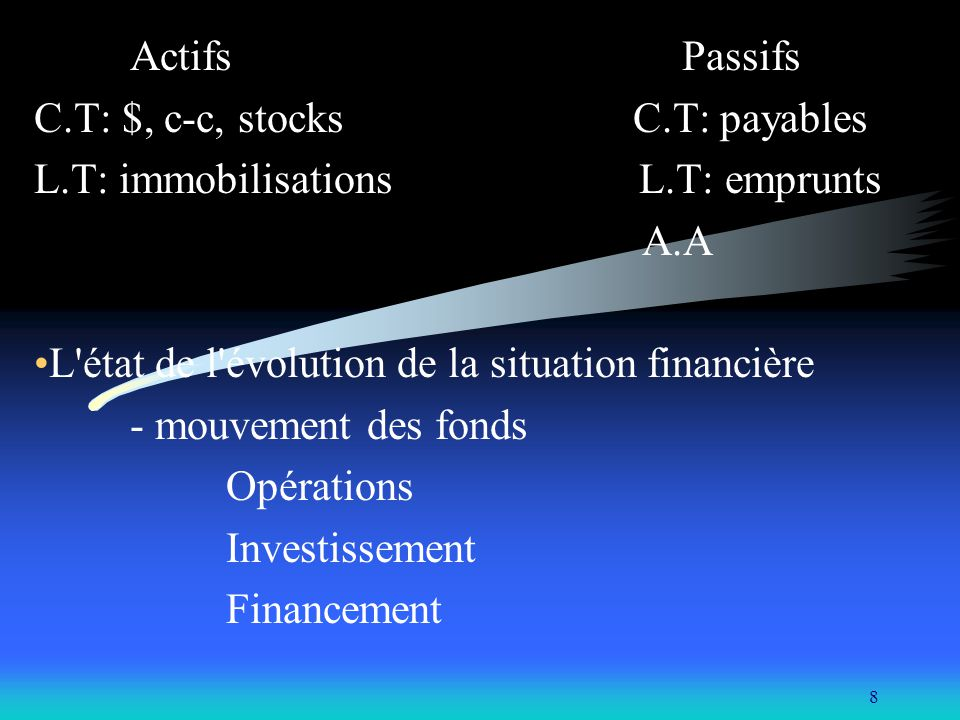 C.T: $, c-c, stocks C.T: payables L.T: immobilisations L.T: emprunts