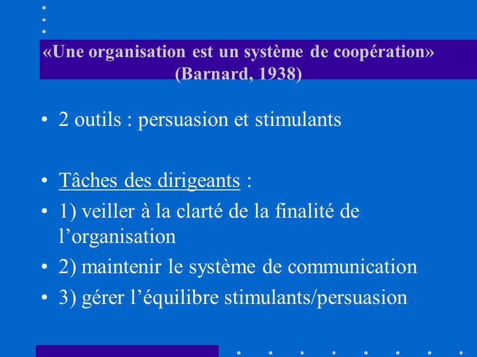 «Une organisation est un système de coopération» (Barnard, 1938)