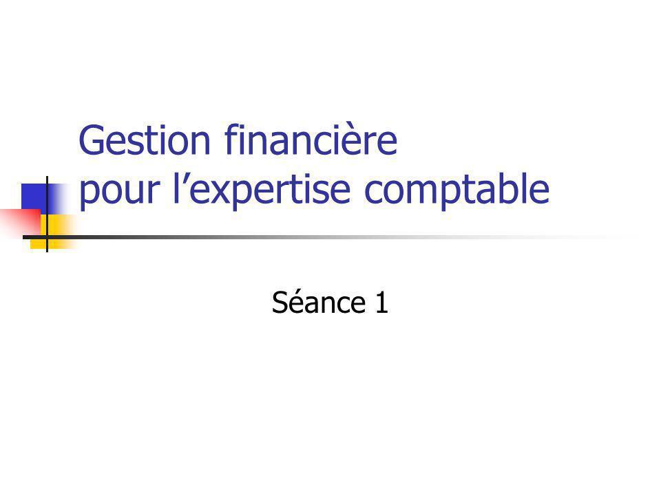 Gestion financière pour l'expertise comptable