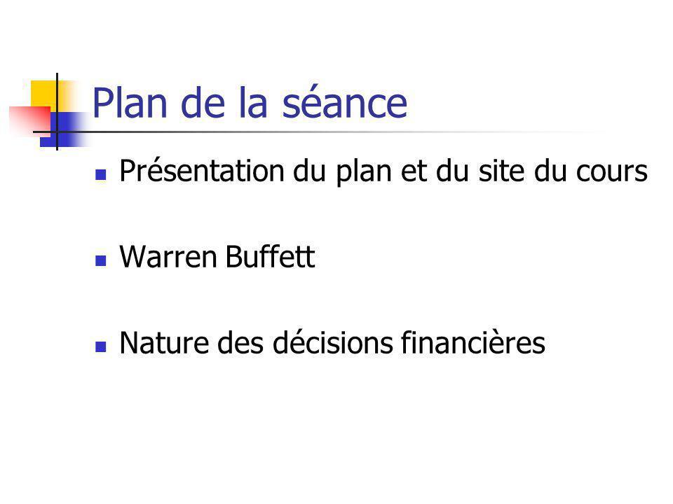 Plan de la séance Présentation du plan et du site du cours