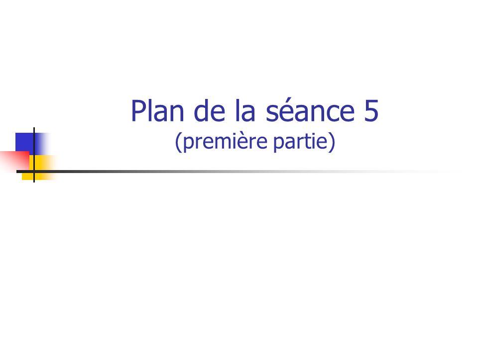 Plan de la séance 5 (première partie)
