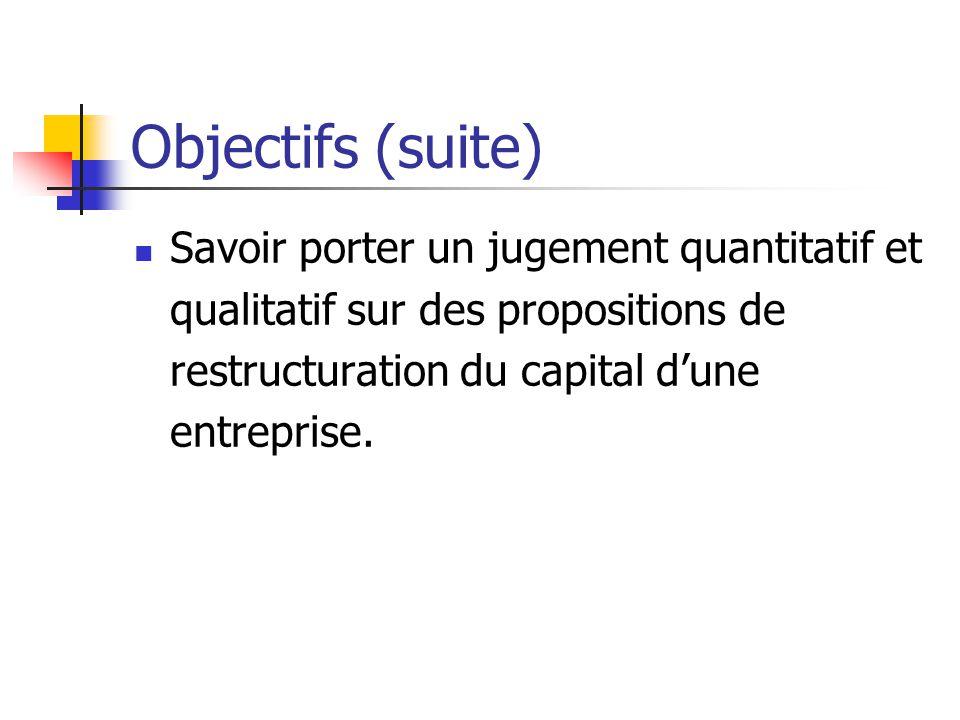 Objectifs (suite) Savoir porter un jugement quantitatif et qualitatif sur des propositions de restructuration du capital d'une entreprise.