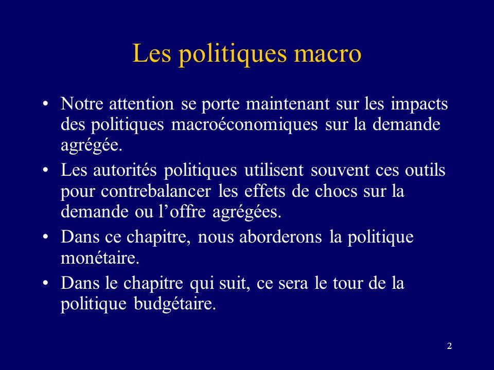 Les politiques macro Notre attention se porte maintenant sur les impacts des politiques macroéconomiques sur la demande agrégée.