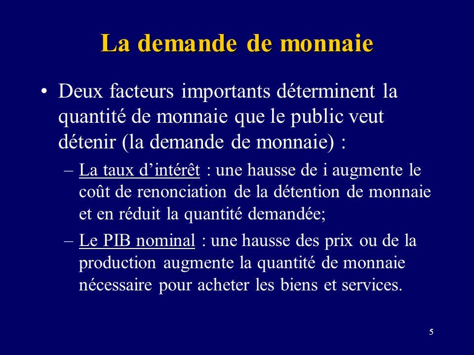 La demande de monnaie Deux facteurs importants déterminent la quantité de monnaie que le public veut détenir (la demande de monnaie) :